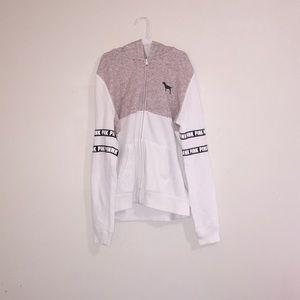 Maroon&White Victoria Secret PINK zip up 🤩!
